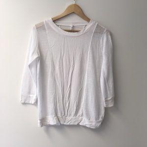 Alo white mesh 3/4 sleeve top